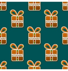 Gift gingerbread seamless pattern vector image
