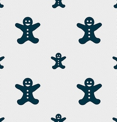 Gingerbread man icon sign Seamless pattern with vector image vector image