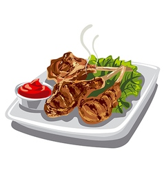 Grilled lamb chops vector