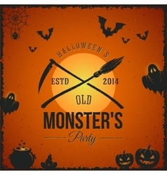 Halloween Monster Party Card or a Label vector image
