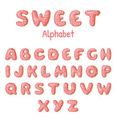 hand drawn donut letters pink donuts abc fun vector image