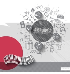 Hand drawn piano icons with icons background vector
