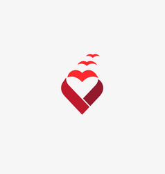 heart ribbon bird logo valentines day vector image