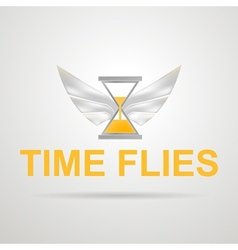 Hourglass with wings Time flies vector