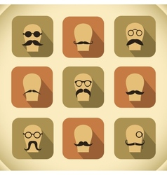 Icons set of hipster mustaches and glasses vector image