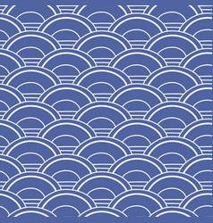 Japanese chinese asian blue wave seamless pattern vector