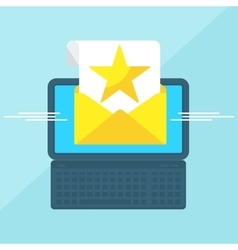 laptop with envelope star vector image
