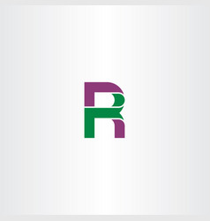 letter r green purple icon logo vector image