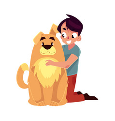 little boy child kid with big fluffy brown dog vector image