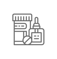 medicine bottle and pills medical drops line icon vector image