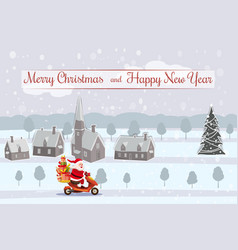 merry christmas and happy new year happy santa vector image