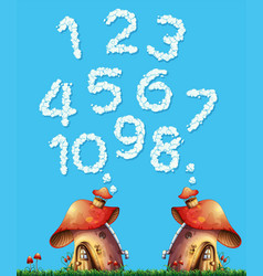 Mushroom house and cloud number vector