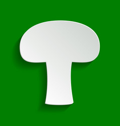 Mushroom simple sign paper whitish icon vector