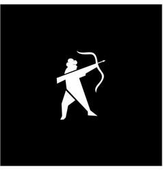 muslim man archery silhouette logo design vector image