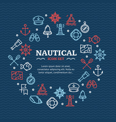 nautical sea travel round design template line vector image