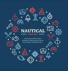 Nautical sea travel round design template line vector
