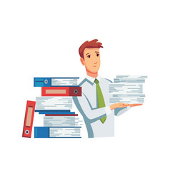 office documents from copier office worker with vector image