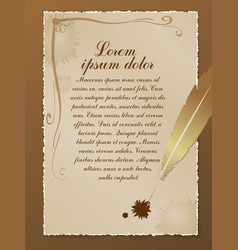 old parchment with a pen and a place for text vector image
