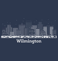 outline wilmington delaware city skyline with vector image