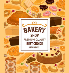 pastry food and desserts bread of bakery shop vector image