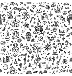 pattern happy halloween with doodle elements vector image