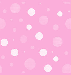 Pink textile textured circles seamless pattern vector