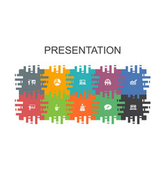Presentation cartoon template with flat elements vector