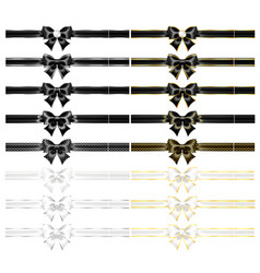 Realistic black and white bows with ribbons vector