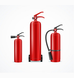 realistic detailed 3d fire extinguisher set vector image