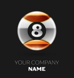 realistic silver number eight logo symbol vector image
