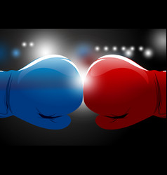 Red and blue boxing gloves with light background vector