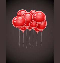 Red birthday balloons soaring vector