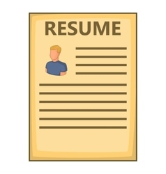 Resume icon cartoon style vector