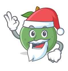 Santa guava mascot cartoon style vector