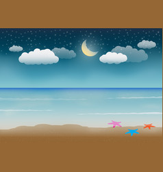 Sea sand and night sky vector