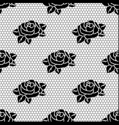 Seamless lace fabric pattern black mesh with a vector