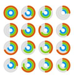 Set of Circular Colored Progress Diagram vector image