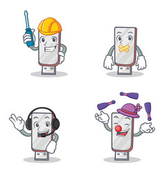 Set of flashdisk character with automotive silent vector
