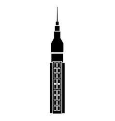 silhouette of a building facade skyscraper image vector image