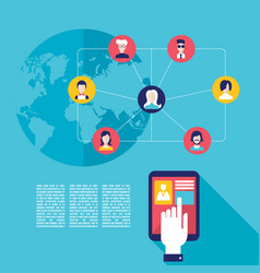 social network concept businessman hand touching vector image