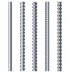 Sreel Rebars Set on White Background Metal vector