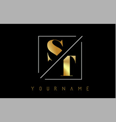 st golden letter logo with cutted and intersected vector image
