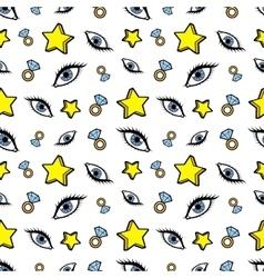 Stars Diamonds and Eyes Seamless Fashion Pattern vector image