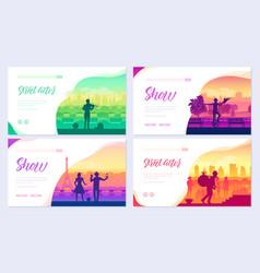street artists around world brochure cards set vector image