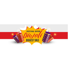 Stylish happy diwali sale banner design vector