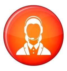 Support phone operator in headset icon flat style vector image