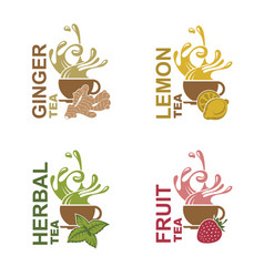 Tea cup set vector