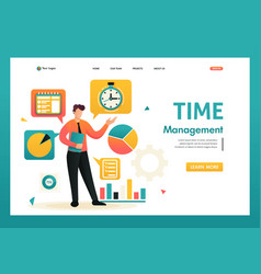 Time management planning your time flat 2d vector