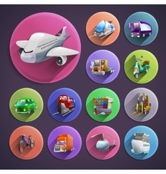 Transport Cartoon Icons Set vector image