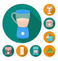 Types of household appliances flat icons in set vector